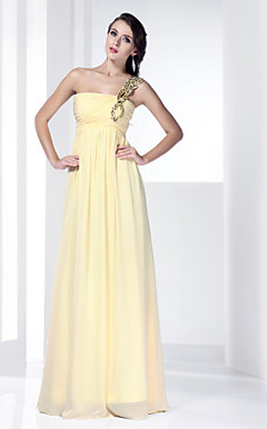 Sheath/ Column One Shoulder Floor-length Beaded Chiffon Evening Dress