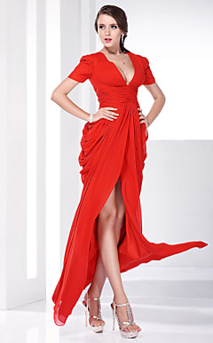 Chiffon Sheath/Column V-neck Floor-length Evening Dress inspired by Katharine Mcphee