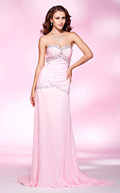 Chiffon Sheath/ Column Sweetheart Sweep/ Brush Train Evening Dress