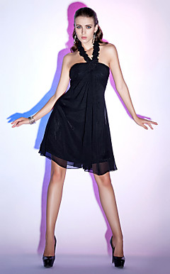 A-line Halter Empire Knee-length Chiffon Cocktail Dress
