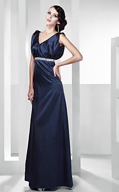 Stretch Satin A-line V-neck Floor-length Evening Dress inspired by Julia Ormond