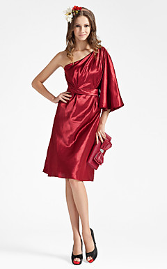 Sheath/Column One Shoulder Knee-length Charmeuse Bridesmaid Dress