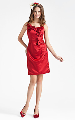 Sheath/ Column Square Short/ Mini Satin Bridesmaid Dress