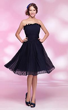 uma linha princesa strapless do joelho-comprimento vestido de cocktail chiffon
