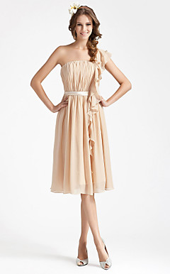 Sheath/Column One Shoulder Knee-length Draped Chiffon Bridesmaid Dress