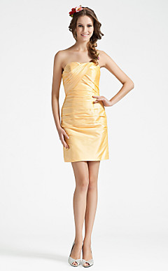 Sheath/ Column Strapless Short/ Mini Taffeta Bridesmaid Dress With Criss-Cross Bodice