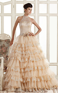 A-line High Neck Court Train Organza Wedding Dress