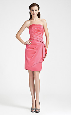 Sheath/Column Strapless Knee-length Side-Draped Satin Bridesmaid Dress