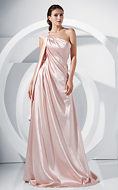 A-line One Shoulder Sweep/ Brush Train Satin Evening Dress