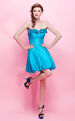 A-line Strapless Short/ Mini Taffeta Cocktail Dress