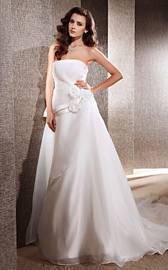 A-line Strapless with Flowers Cathedral Train Organza Satin Wedding Dress