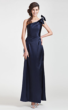Sheath/ Column One Shoulder Floor-length Stretch Satin Bridesmaid Dress