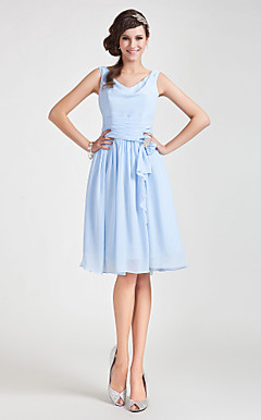 A-line Cowl Knee-length Chiffon Bridesmaid Dress