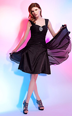 A-line Straps Knee-length Chiffon Over Stretch Satin Cocktail Dress With Criss-Cross Bodice