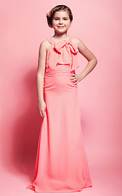 Sheath/ Column Scoop Floor-length Chiffon Junior Bridesmaid Dress