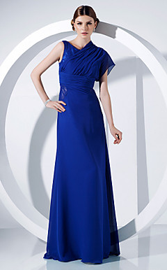 Sheath/Column Jewel Floor-length Chiffon And Lace Evening Dress
