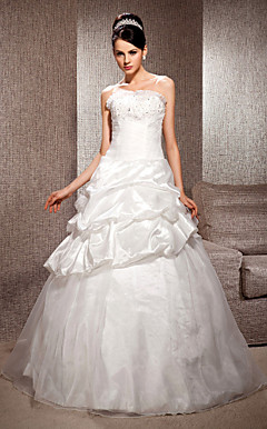 A-line Strapless Floor-length Organza Taffeta Wedding Dress