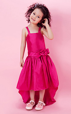 A-line Taffeta Asymmetrical Flower Girl Dress With Straps