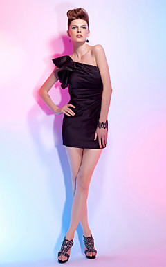Sheath/Column One Shoulder Short/Mini Satin Cocktail Dress