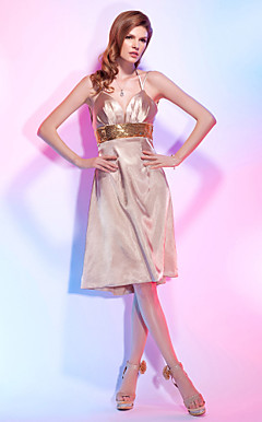 A-line Spaghetti Strap Knee-length Stretch Satin And Sequins Cocktail Dress