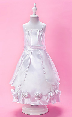 A-line Spaghetti Strap Ankle-length Stretch Satin Flower Girl Dress