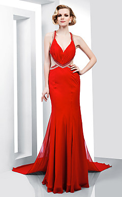 Trumpet/Mermaid V-neck Floor-length Chiffon Evening Dress With Removable Court Train