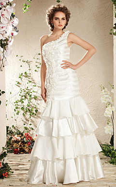 Trumpet/Mermaid One Shoulder Elastic Woven Satin Wedding Dress