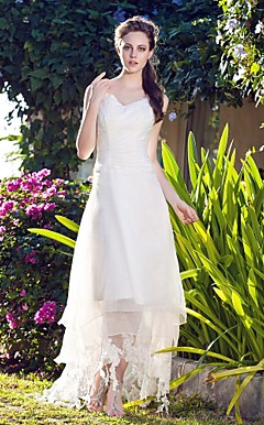 A-line V-neck Asymmetrical Organza Wedding Dress