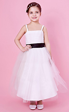 A-line Spaghetti Strap Tea-length Tulle And Satin Flower Girl Dress With Sash/Ribbon