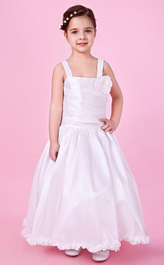 A-line Floor-length Taffeta Flower Girl Dress With Straps