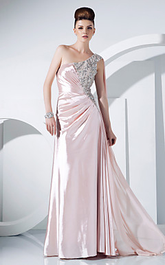 Sheath/Column One Shoulder Floor-length Charmeuse And Chiffon Evening Dress