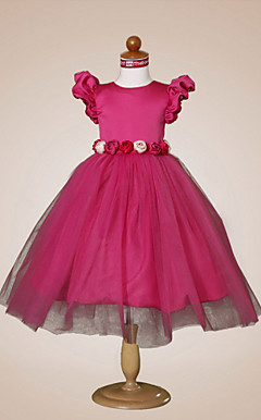 Ball Gown Jewel Knee-length Puff Balloon Satin Tulle Flower Girl Dress
