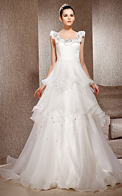 A-line Scoop Neck Court Train Organza And Satin Wedding Dress