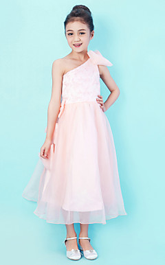 One Shoulder Tea-length Organza And Lace Junior Bridesmaid Dress