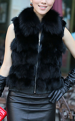 Collarless Sleeveless Fox Fur Career/Casual Vest (More Colors)