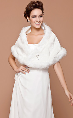Faux Fur Bridal Wedding Shawl
