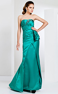Strapless Floor-length Satin Trumpet/ Mermaid Evening Dress