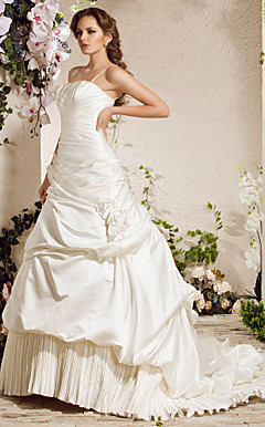 A-line Spaghetti Straps Chapel Train Satin Wedding Dress