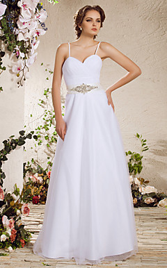A-line Spaghetti Straps Floor-length Tulle Wedding Dress