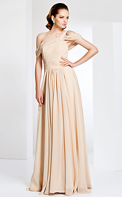 Off-the-shoulder Sheath/Column Floor-length Chiffon Evening Dress