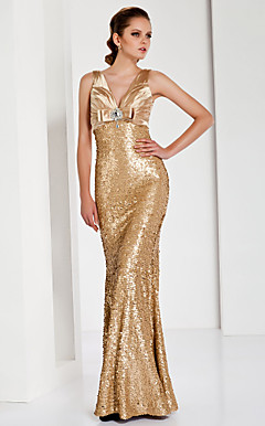 Trumpet/ Mermaid V-neck Floor-length Sequined Satin Evening Dress