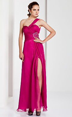 Sheath / Column One Shoulder Floor-length Chiffon Malay Satin Evening Dress