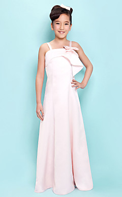 A-line Straps Floor-length Satin Junior Bridesmaid Dress