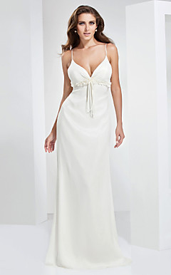 Sheath/Column Spaghetti Straps Sweetheart Floor-length Chiffon Evening Dress