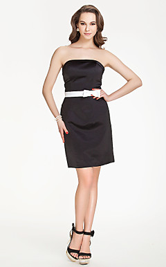 Strapless Sheath/Column Short/Mini Stain Bridesmaid Dress