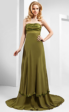 A-line Strapless Court Train Chiffon Sequined Evening Dress