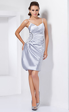 Sheath/Column Sweetheart Short/Mini Stretch Satin Cocktail Dress