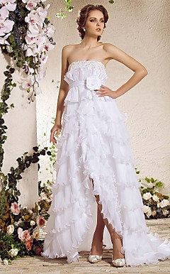 A-line Strapless Court Train Asymmetrical Organza Weeding Dress