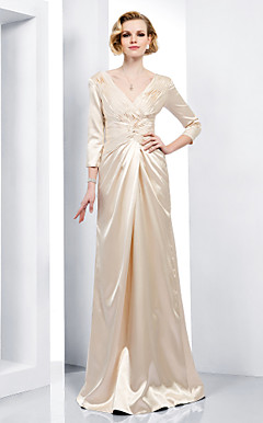 Sheath/ Column V-neck Floor-length Stretch Satin Evening Dress