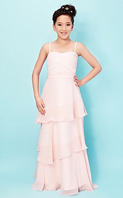 Sweet A-line Spaghetti Straps Sweetheart Floor-length Chiffon Junior Bridesmaid Dress